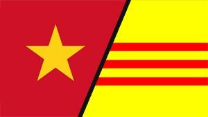 Drapeau Nord-Vietnamien et Sud-Vietnamien.