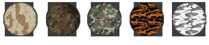 5 des 15 camouflages disponibles dans le jeu