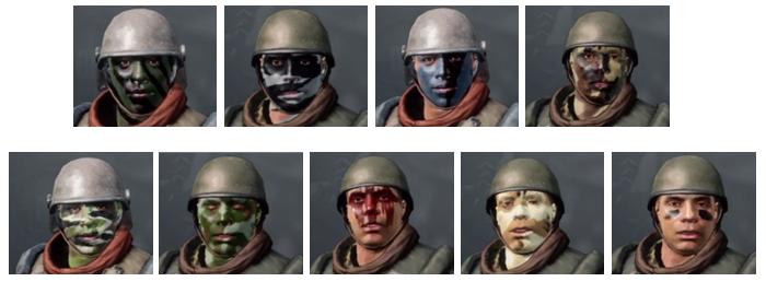 Quelques camouflages de visage